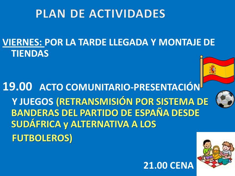 PLAN DE ACTIVIDADES 19.00 ACTO COMUNITARIO-PRESENTACIÓN