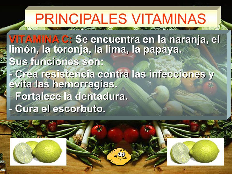 PRINCIPALES VITAMINAS