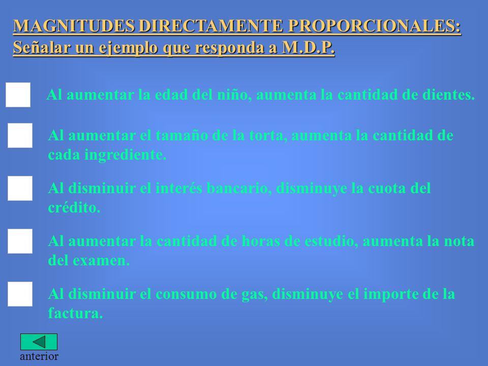 MAGNITUDES DIRECTAMENTE PROPORCIONALES: Señalar un ejemplo que responda a M.D.P.
