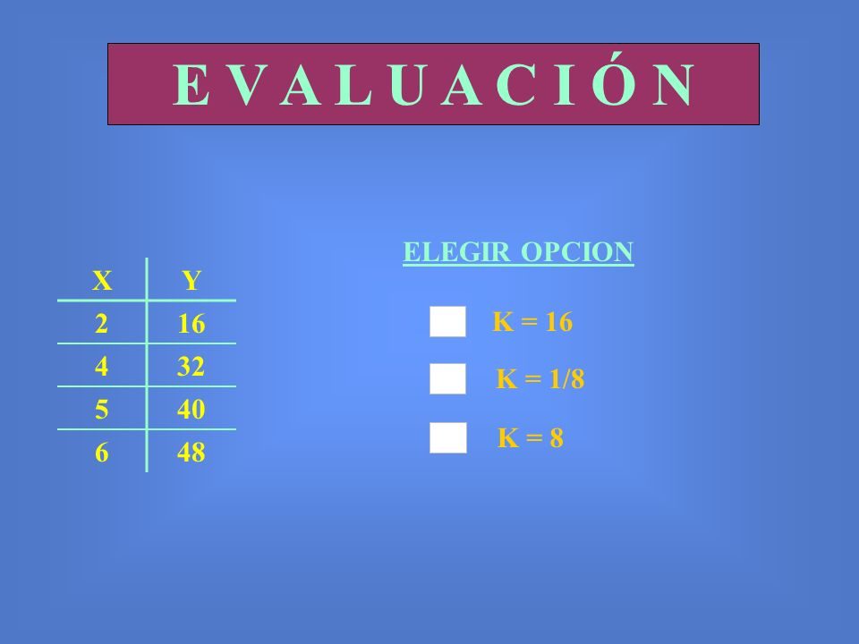 E V A L U A C I Ó N ELEGIR OPCION X Y 2 16 4 32 5 40 6 48 K = 16
