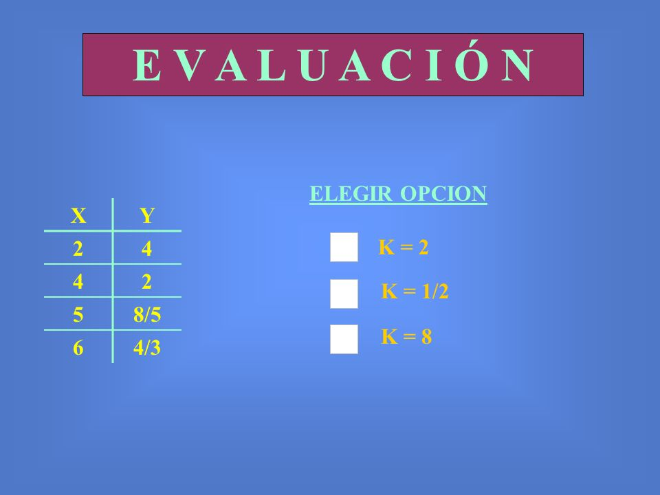E V A L U A C I Ó N ELEGIR OPCION X Y 2 4 5 8/5 6 4/3 K = 2 K = 1/2