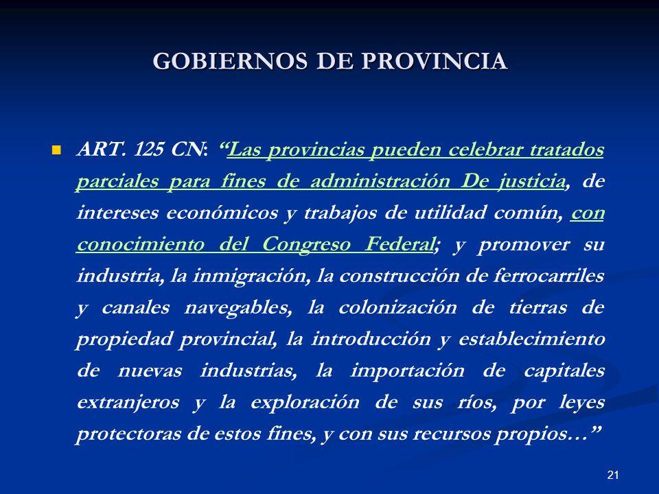 GOBIERNOS DE PROVINCIA