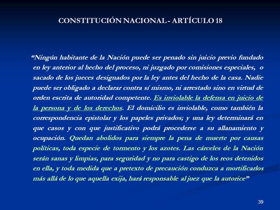CONSTITUCIÓN NACIONAL - ARTÍCULO 18