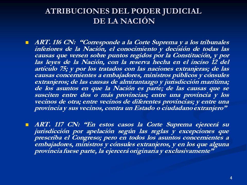 ATRIBUCIONES DEL PODER JUDICIAL DE LA NACIÓN