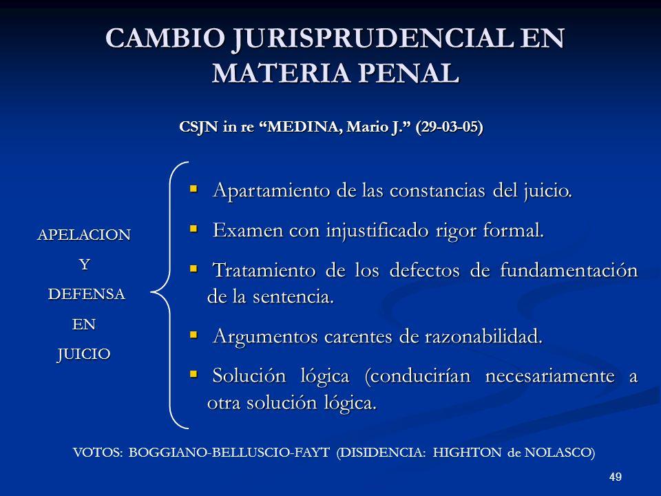 CAMBIO JURISPRUDENCIAL EN MATERIA PENAL