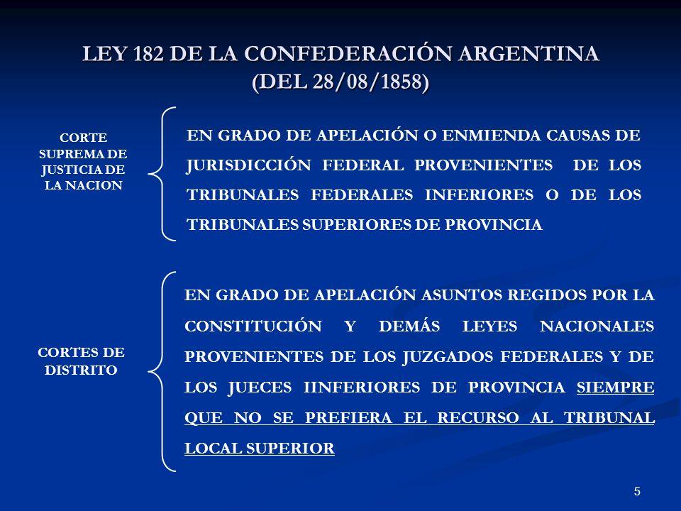 LEY 182 DE LA CONFEDERACIÓN ARGENTINA (DEL 28/08/1858)