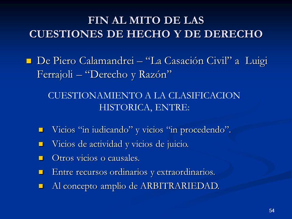 FIN AL MITO DE LAS CUESTIONES DE HECHO Y DE DERECHO
