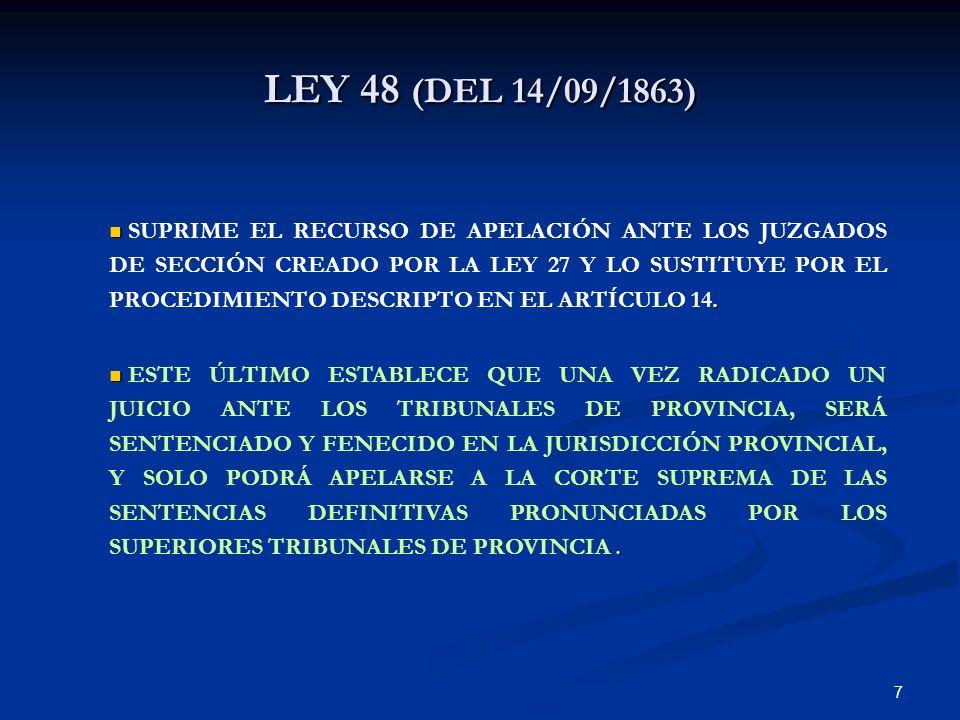 LEY 48 (DEL 14/09/1863)