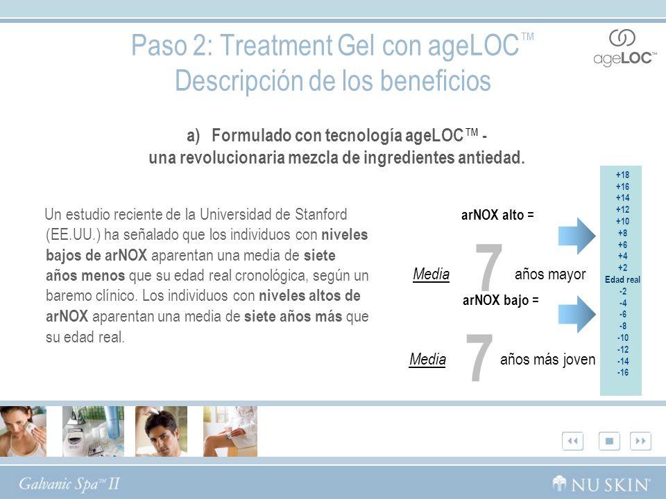 Paso 2: Treatment Gel con ageLOC™ Descripción de los beneficios