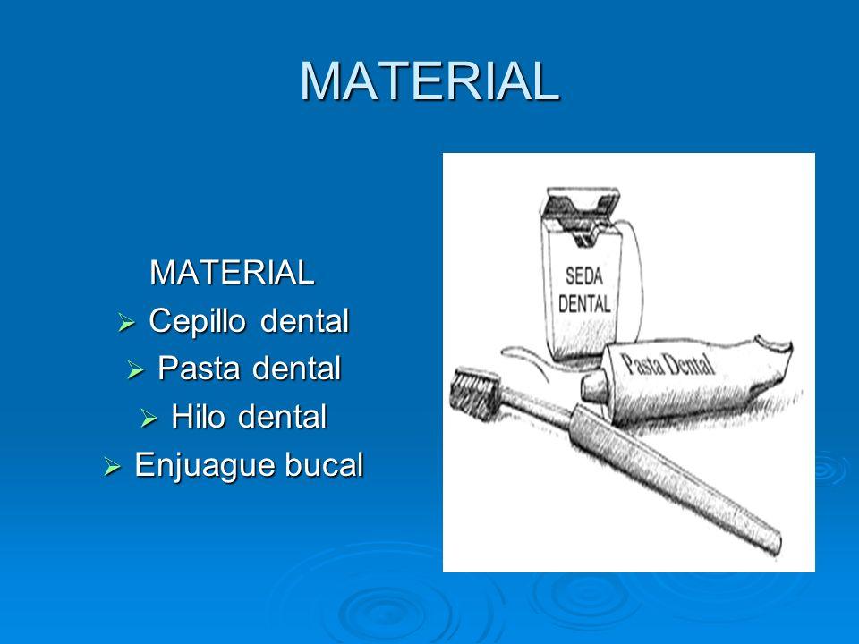 MATERIAL MATERIAL Cepillo dental Pasta dental Hilo dental