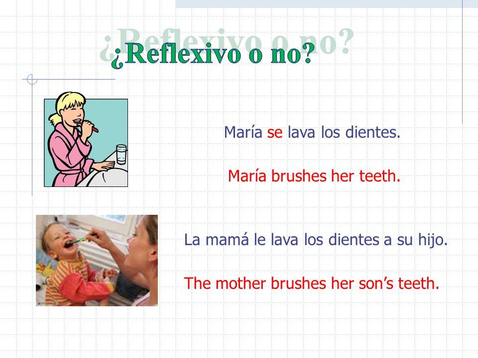 ¿Reflexivo o no María se lava los dientes. María brushes her teeth.