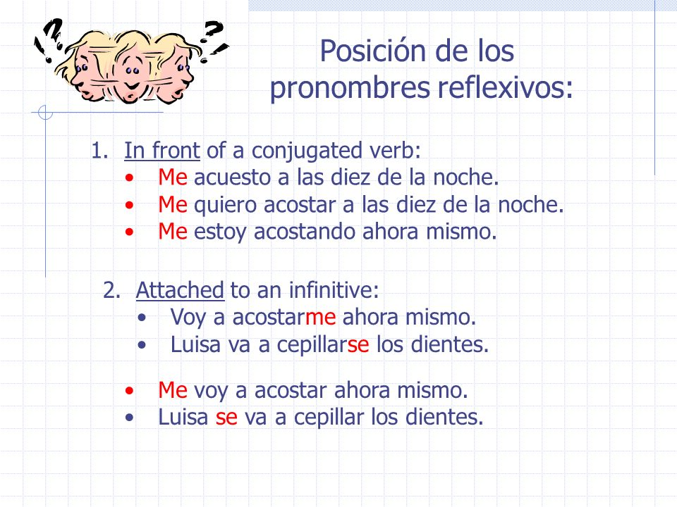 pronombres reflexivos: