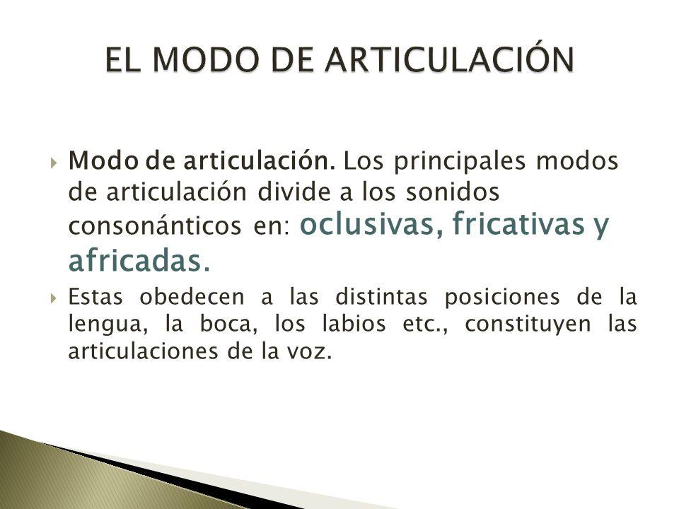 EL MODO DE ARTICULACIÓN