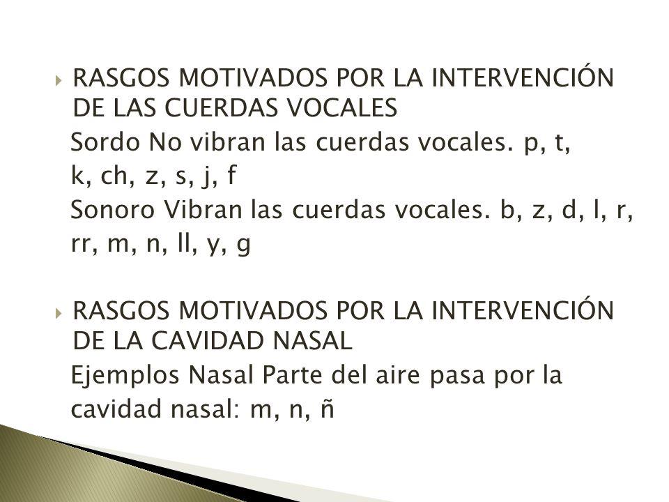 RASGOS MOTIVADOS POR LA INTERVENCIÓN DE LAS CUERDAS VOCALES