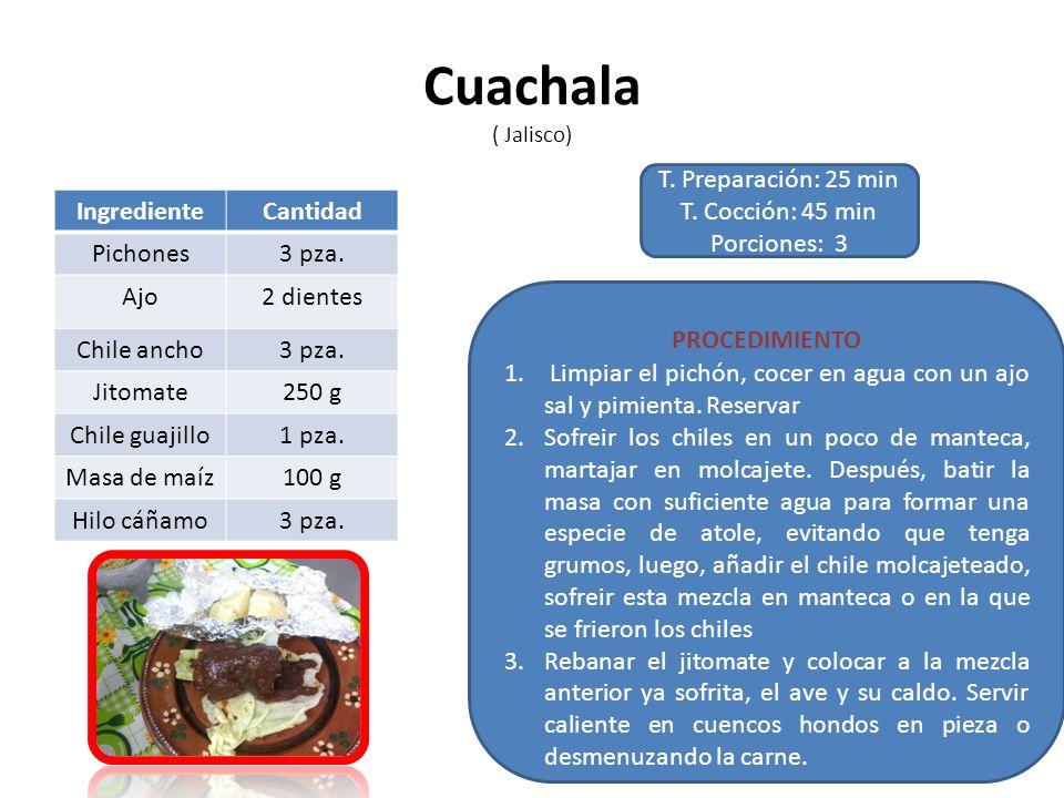 Cuachala ( Jalisco) T. Preparación: 25 min T. Cocción: 45 min