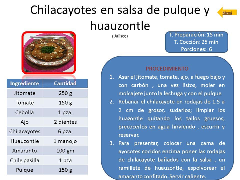 Chilacayotes en salsa de pulque y huauzontle ( Jalisco)