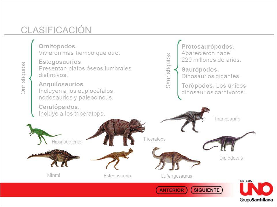 CLASIFICACIÓN Ornitópodos. Vivieron más tiempo que otro.