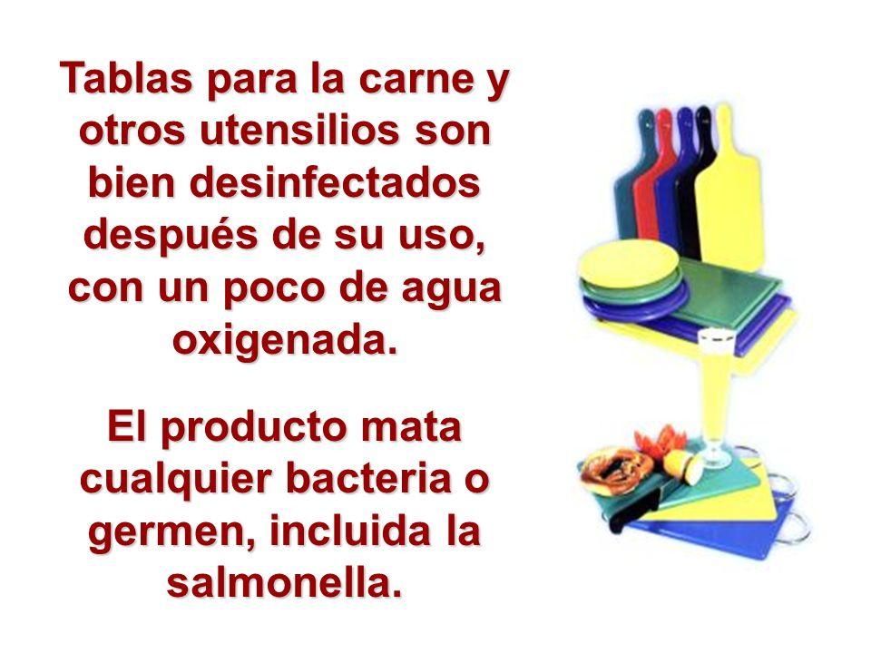 El producto mata cualquier bacteria o germen, incluida la salmonella.