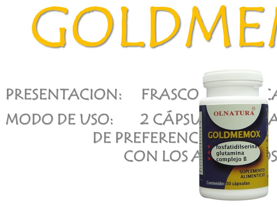 GOLDMEMOX PRESENTACION: FRASCO CON 30 CAPSULAS