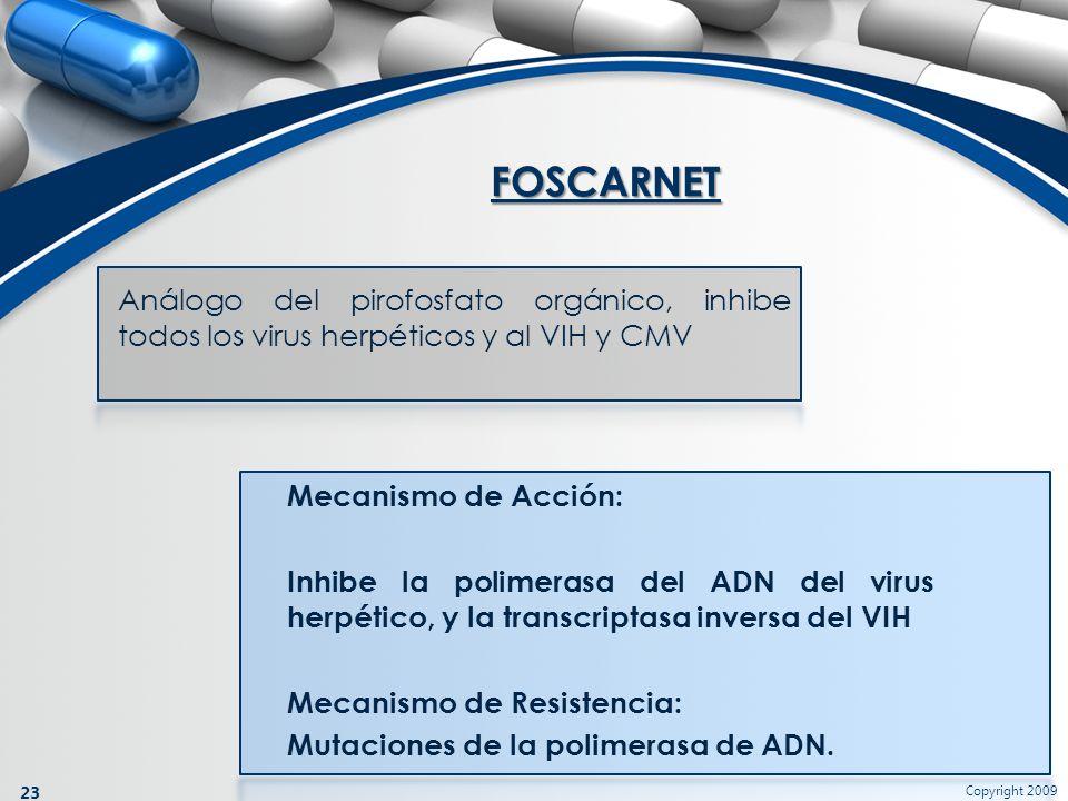 FOSCARNET Análogo del pirofosfato orgánico, inhibe todos los virus herpéticos y al VIH y CMV.