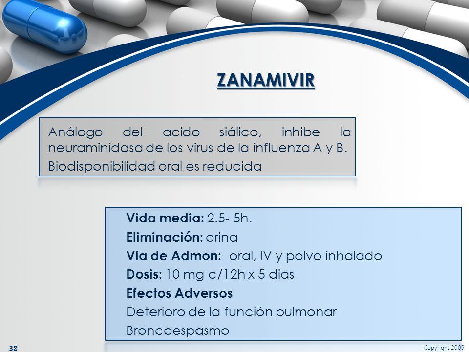 ZANAMIVIR Análogo del acido siálico, inhibe la neuraminidasa de los virus de la influenza A y B. Biodisponibilidad oral es reducida