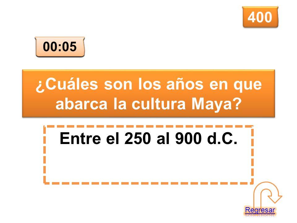 ¿Cuáles son los años en que abarca la cultura Maya