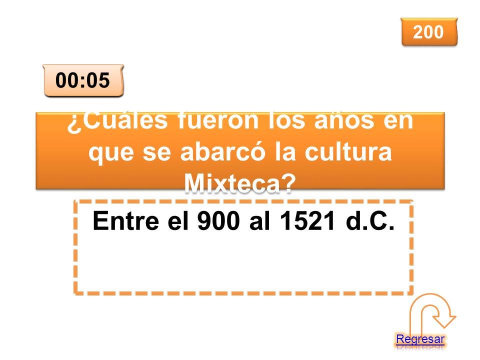 ¿Cuáles fueron los años en que se abarcó la cultura Mixteca