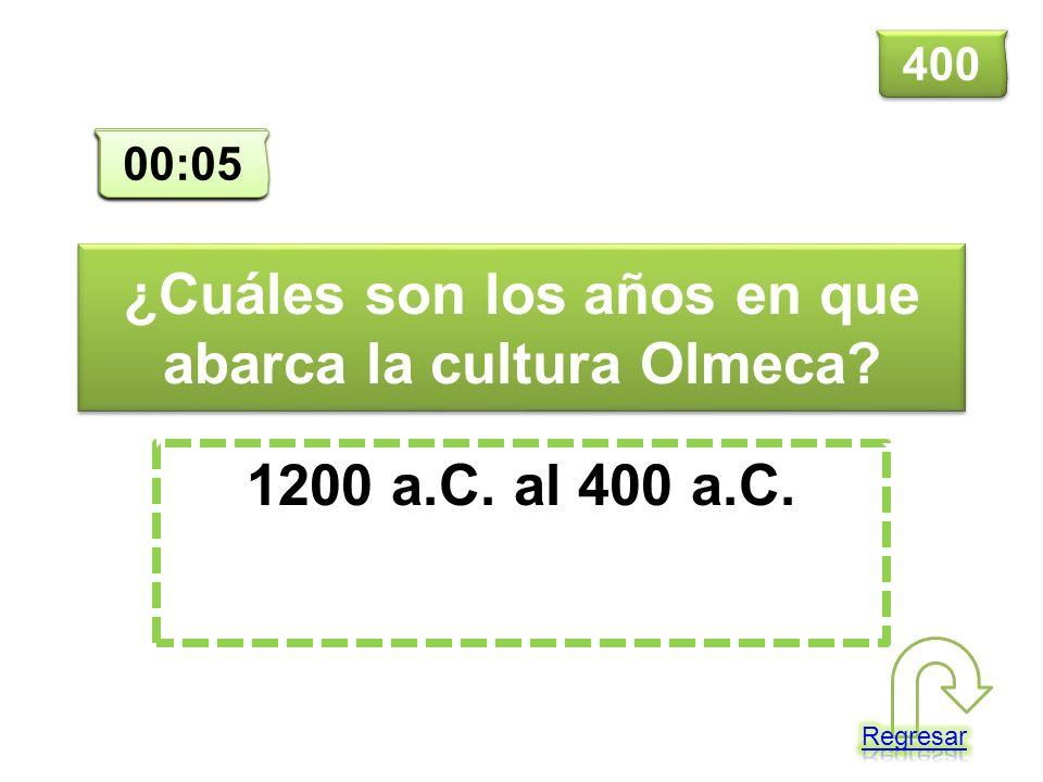 ¿Cuáles son los años en que abarca la cultura Olmeca