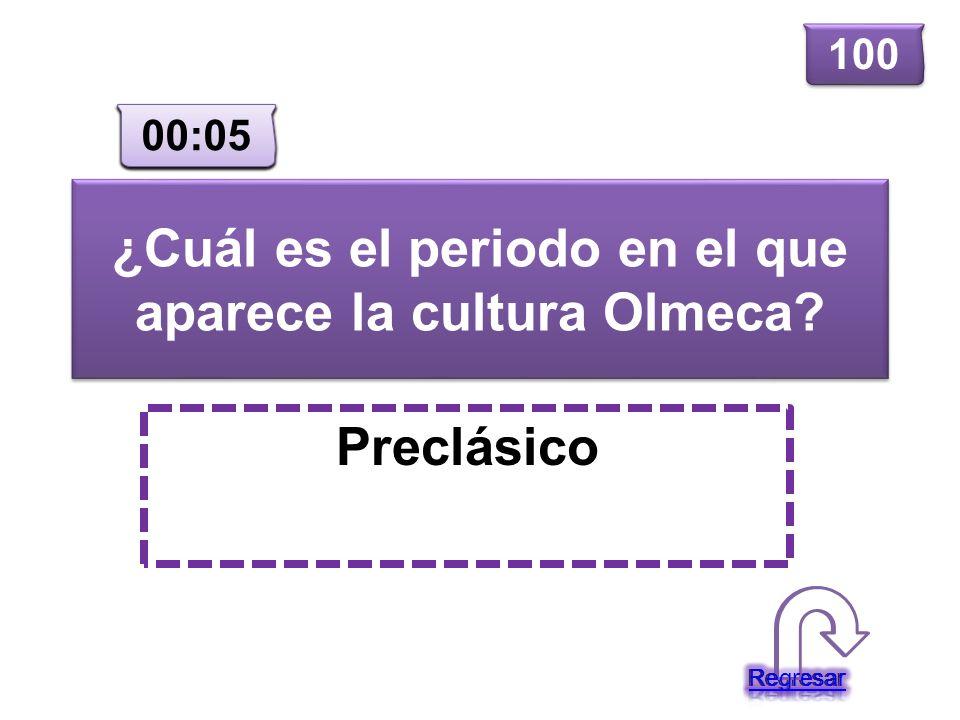 ¿Cuál es el periodo en el que aparece la cultura Olmeca