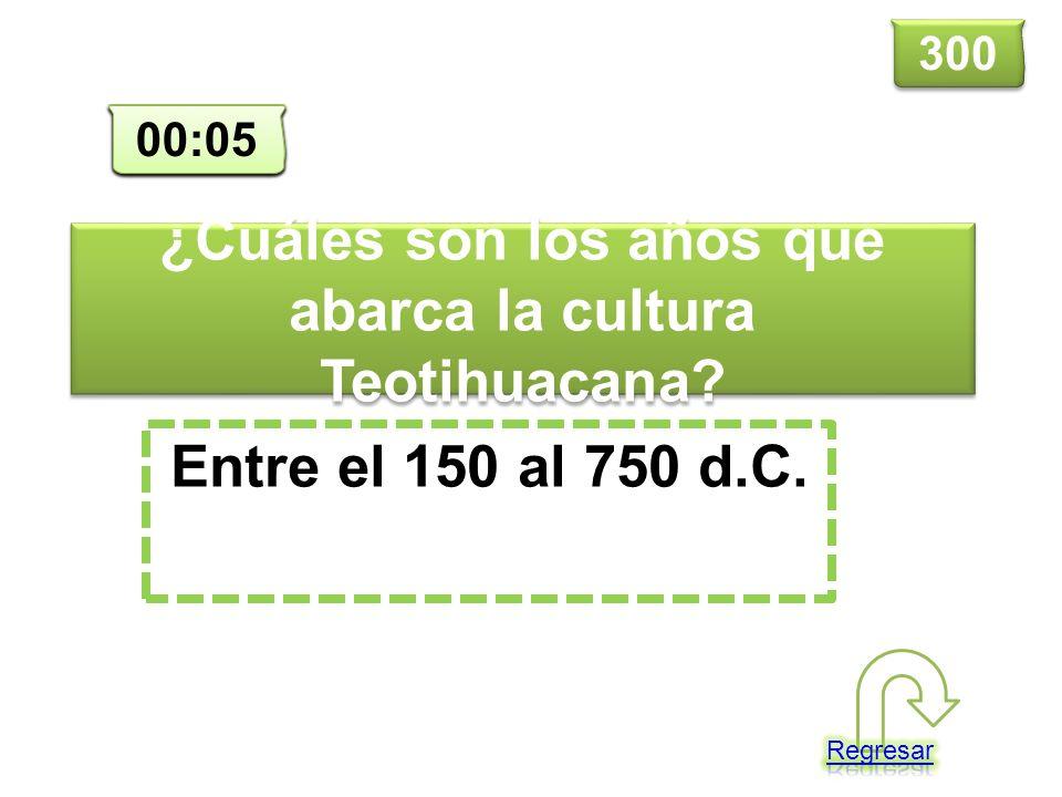 ¿Cuáles son los años que abarca la cultura Teotihuacana