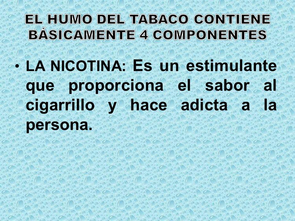 EL HUMO DEL TABACO CONTIENE BÁSICAMENTE 4 COMPONENTES