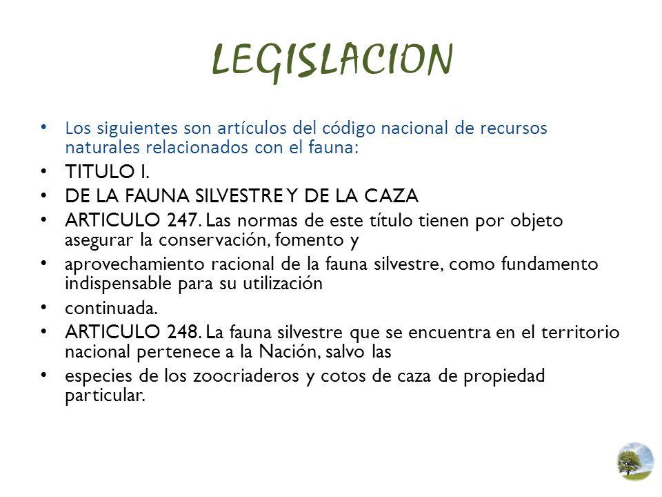 LEGISLACION Los siguientes son artículos del código nacional de recursos naturales relacionados con el fauna: