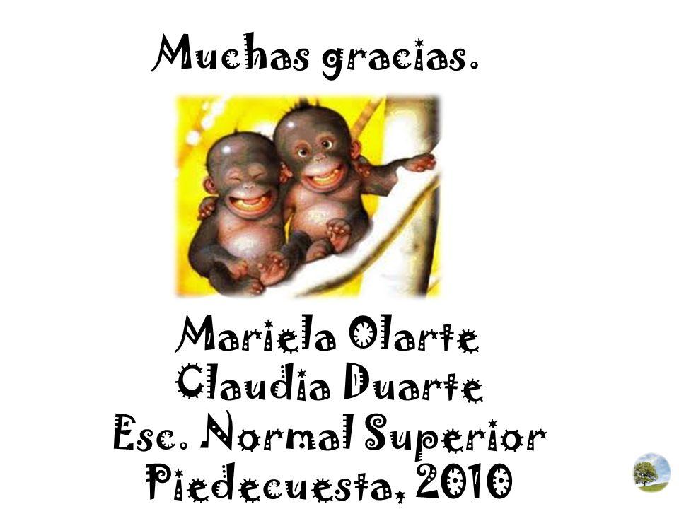 Muchas gracias. Mariela Olarte Claudia Duarte Esc. Normal Superior Piedecuesta, 2010
