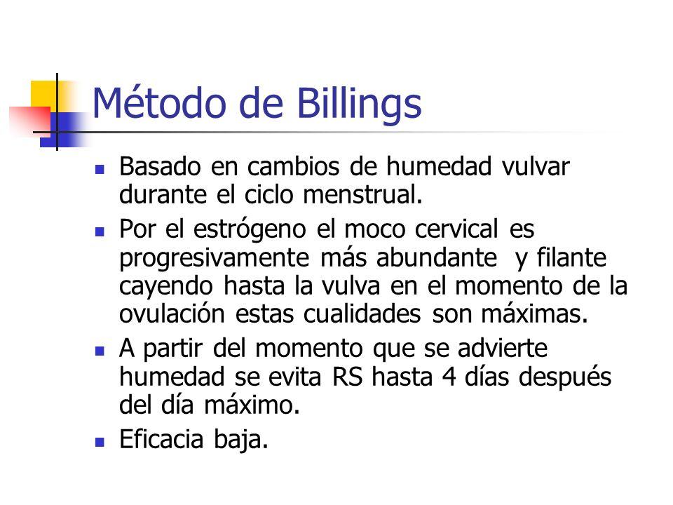 Método de Billings Basado en cambios de humedad vulvar durante el ciclo menstrual.