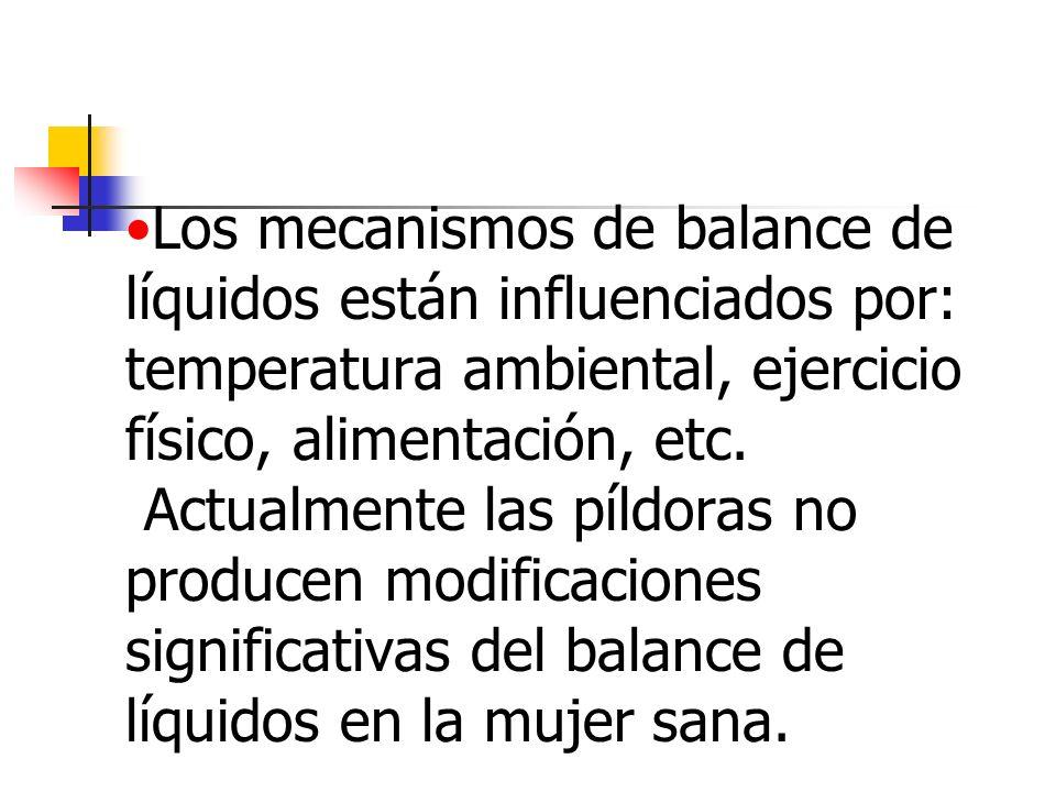 Los mecanismos de balance de líquidos están influenciados por: temperatura ambiental, ejercicio físico, alimentación, etc.