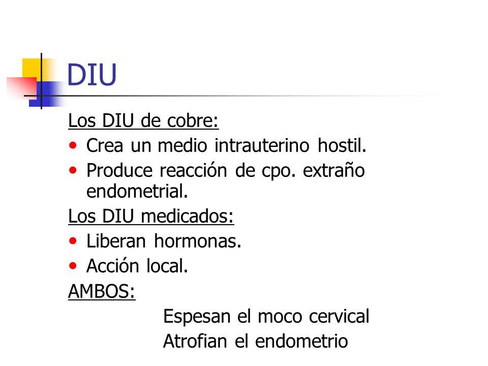 DIU Los DIU de cobre: Crea un medio intrauterino hostil.