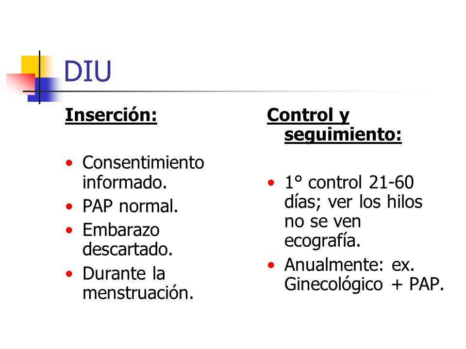 DIU Inserción: Consentimiento informado. PAP normal.