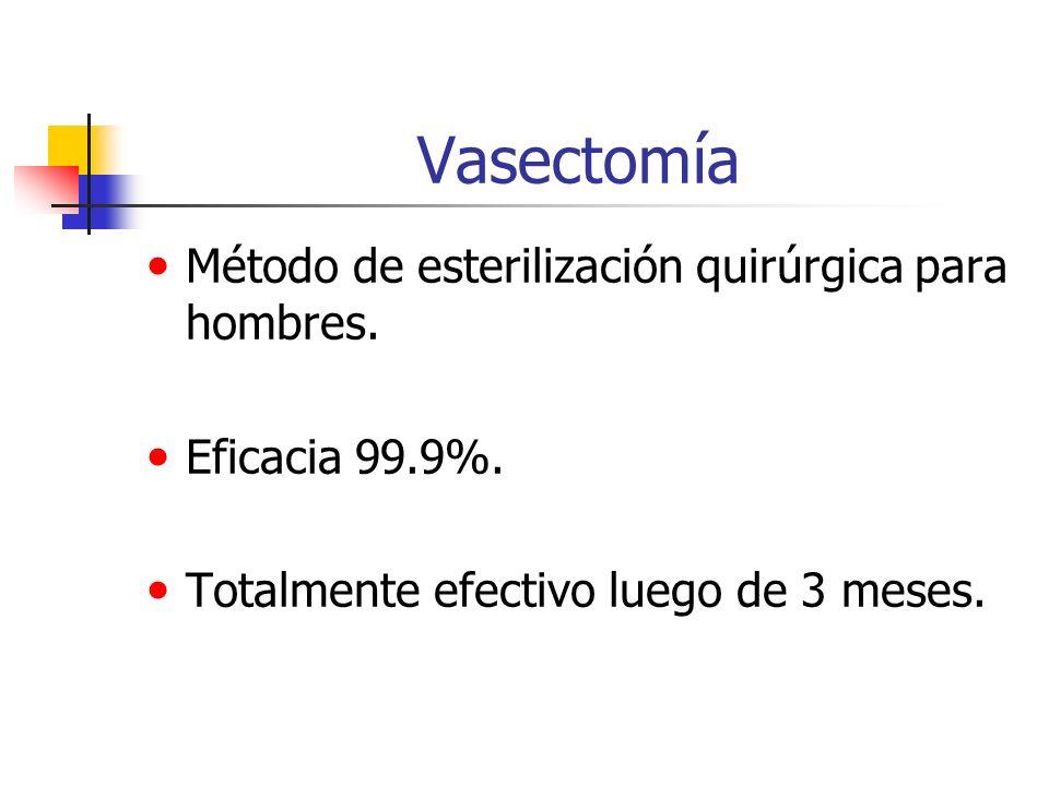 Vasectomía Método de esterilización quirúrgica para hombres.
