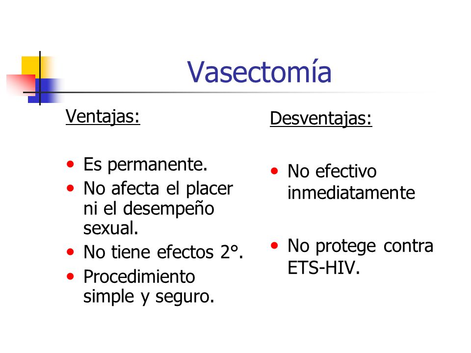 Vasectomía Ventajas: Es permanente.