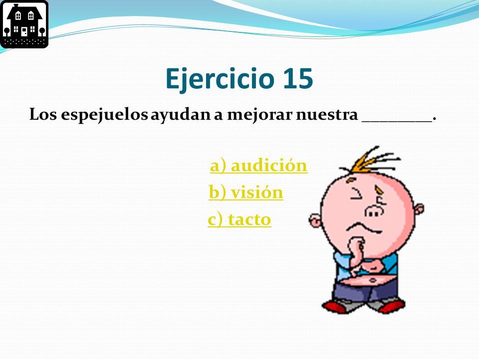 Ejercicio 15 b) visión c) tacto