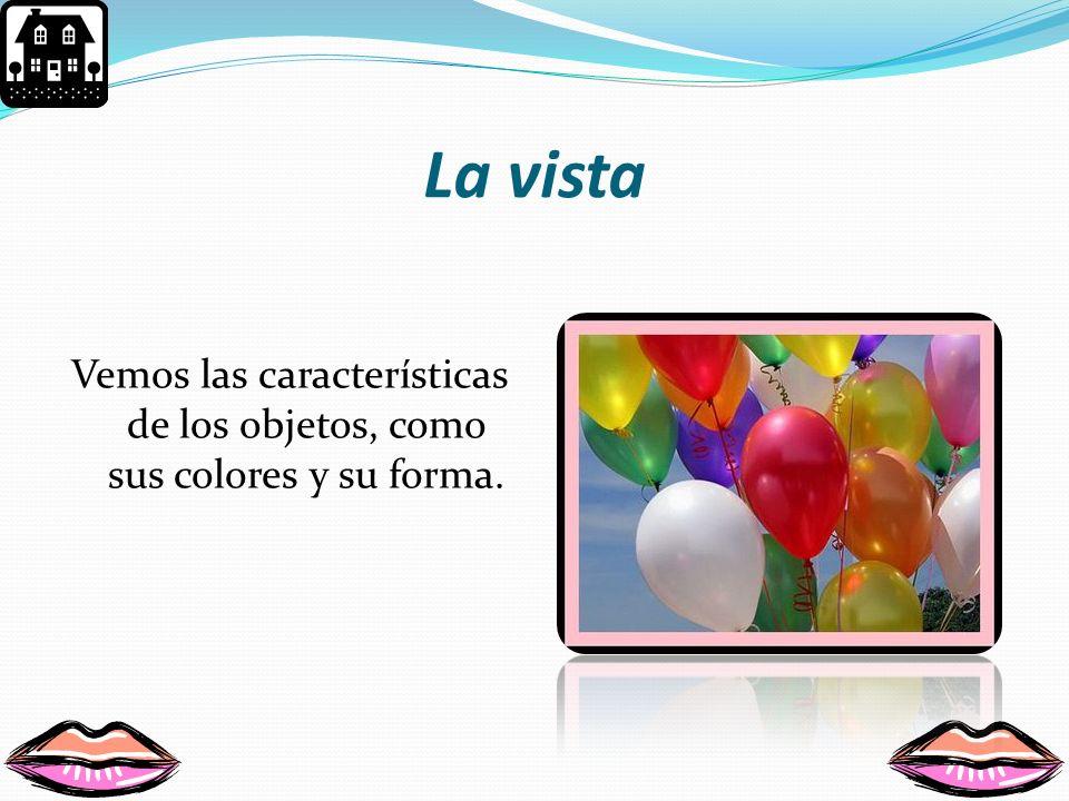 Vemos las características de los objetos, como sus colores y su forma.