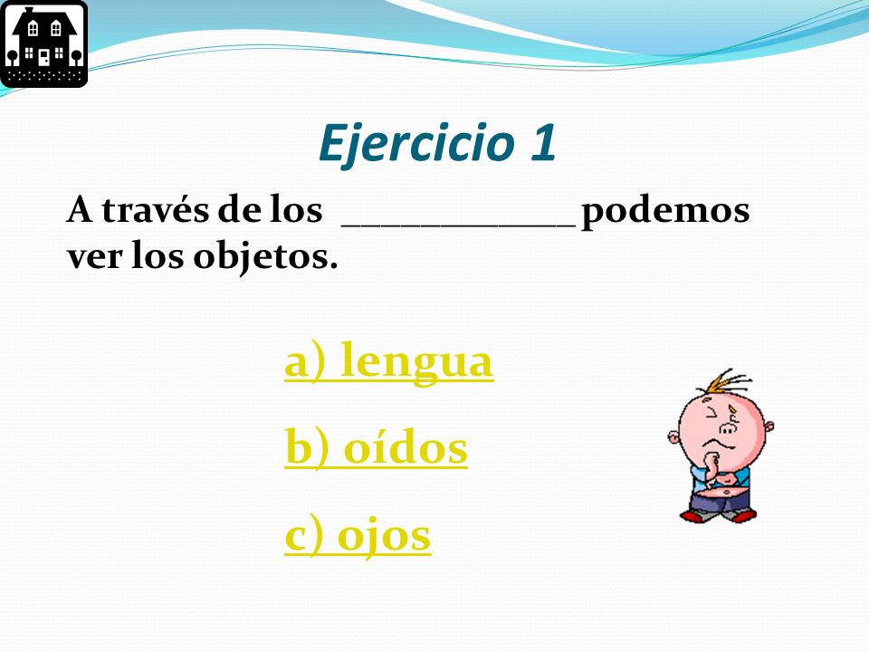 Ejercicio 1 a) lengua b) oídos c) ojos