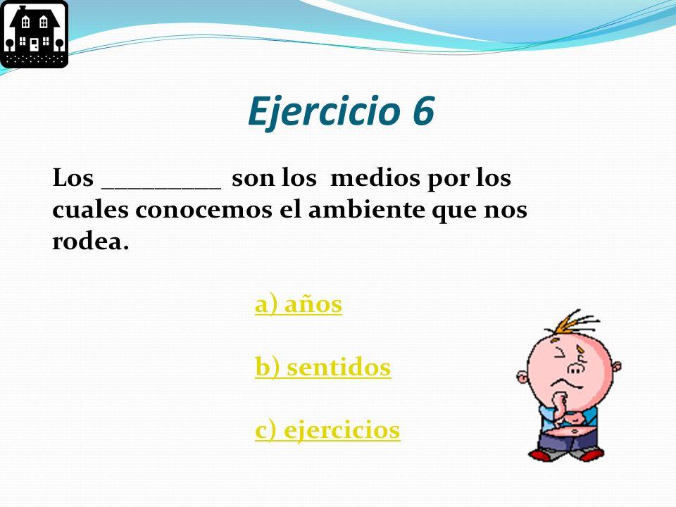 Ejercicio 6 Los _________ son los medios por los cuales conocemos el ambiente que nos rodea. a) años.