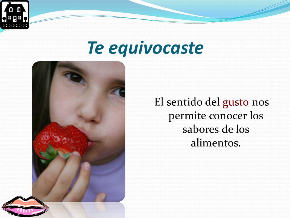 El sentido del gusto nos permite conocer los sabores de los alimentos.