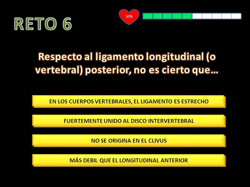50% RETO 6. Respecto al ligamento longitudinal (o vertebral) posterior, no es cierto que… EN LOS CUERPOS VERTEBRALES, EL LIGAMENTO ES ESTRECHO.