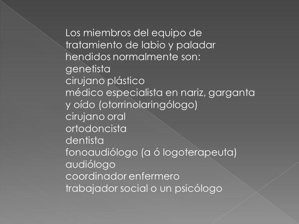 Los miembros del equipo de tratamiento de labio y paladar hendidos normalmente son: