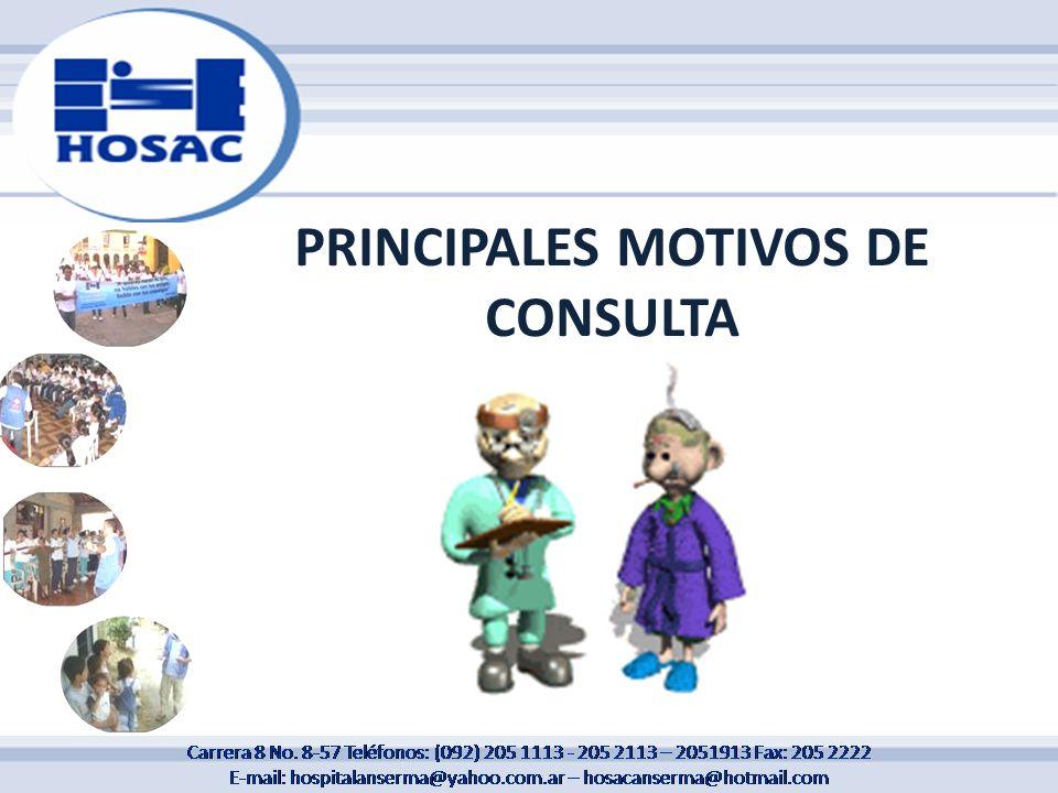 PRINCIPALES MOTIVOS DE CONSULTA