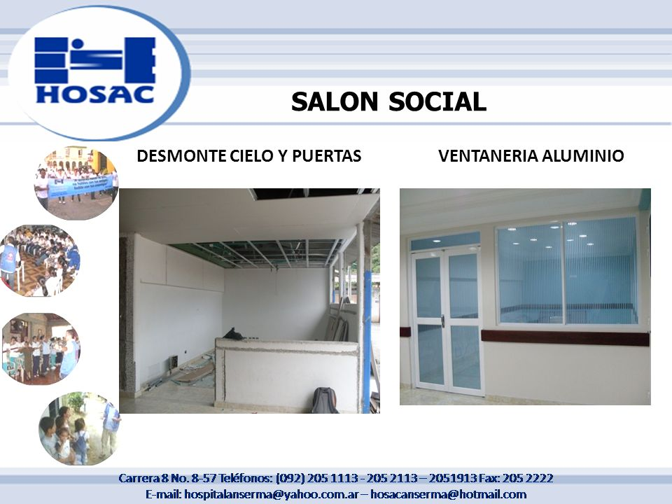 SALON SOCIAL DESMONTE CIELO Y PUERTAS VENTANERIA ALUMINIO
