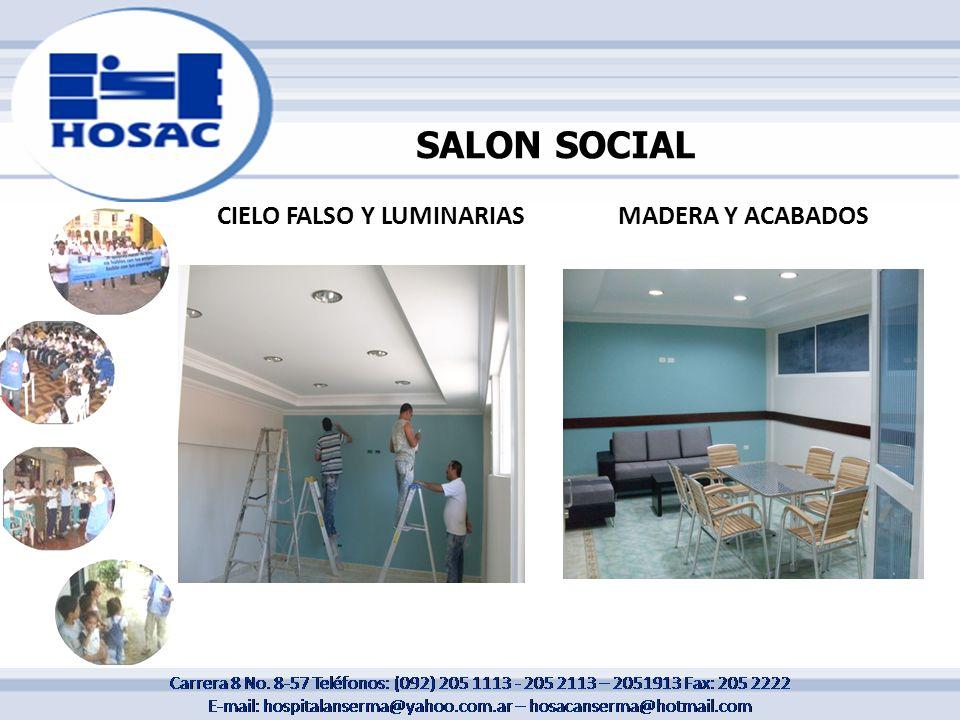 SALON SOCIAL CIELO FALSO Y LUMINARIAS MADERA Y ACABADOS