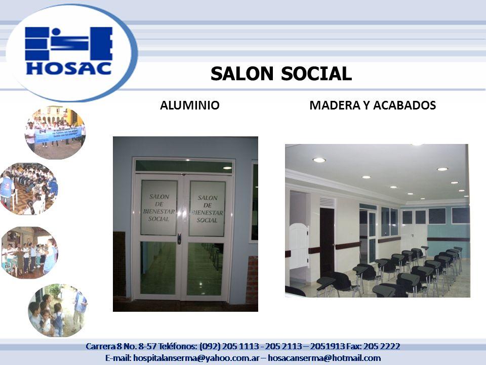 SALON SOCIAL ALUMINIO MADERA Y ACABADOS